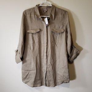 J. Jill button up blouse shirt top L birch nwt